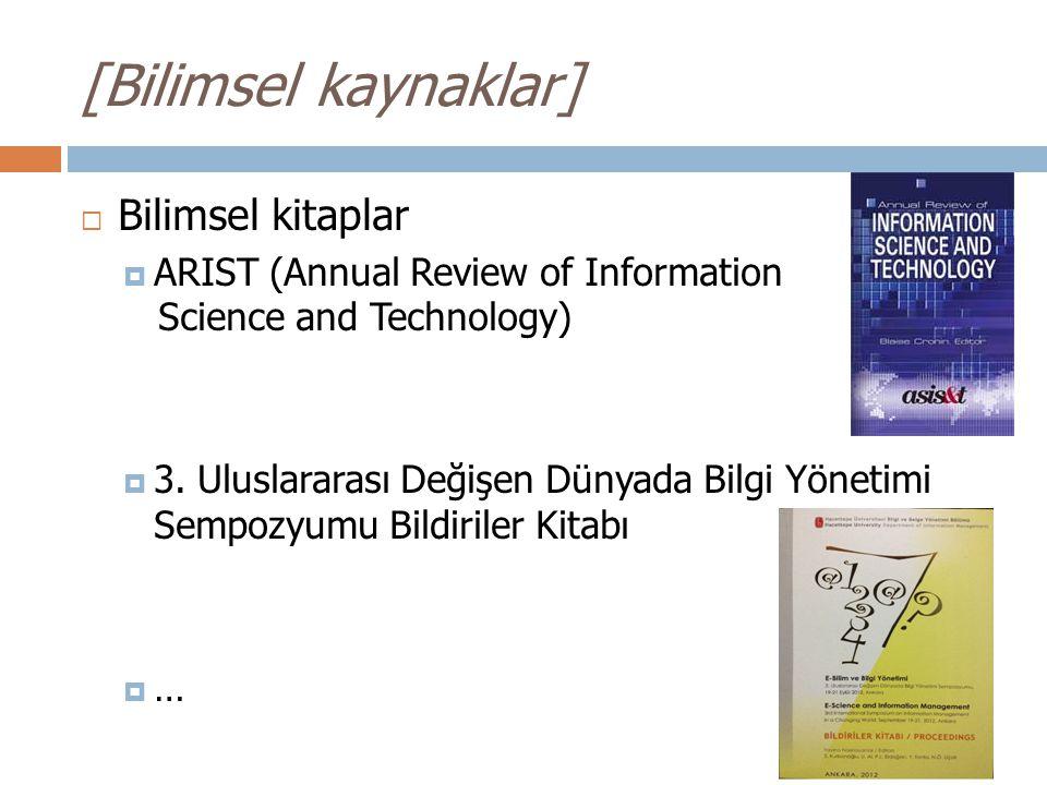 [Bilimsel kaynaklar] Bilimsel kitaplar
